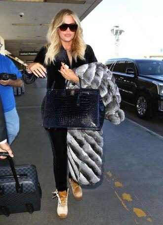 pants sweatpants sweatshirt velvet khloe kardashian kardashians fur coat fur jacket