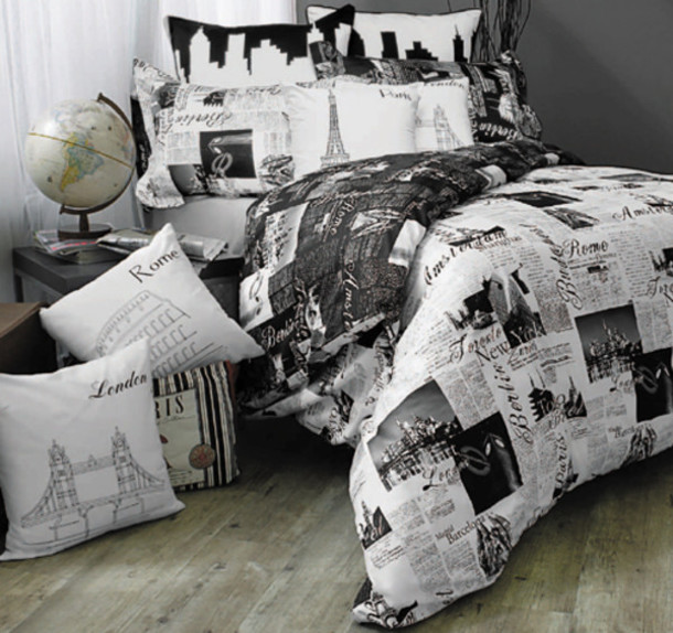 dress black white bedding newspaper bedding home accessory