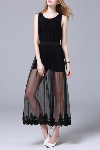 dress fashion black maxi dress mesh trendy beautiful style summer dezzal