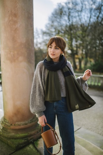 sweater tumblr grey sweater scarf knit knitwear knitted sweater bag brown bag