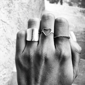 jewels ring silver gold heart cuff rose gold bronze black and white