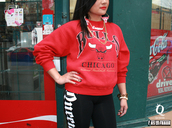 jacket,chicago bulls,red,black
