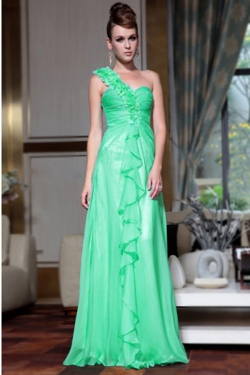 Chic A-line One Shoulder Ruffle Chiffon Floor Length Evening Dress [PECE2114]- US$202.02 - PersunMall.com