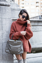 wendy's,lookbook,blogger,sweater,shoes,bag,sunglasses,jeans,over the knee boots,handbag,sweater dress,oversized sweater,fall outfits