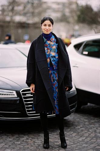 vanessa jackman blogger skirt floral black coat boyfriend coat