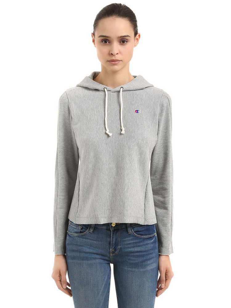 CHAMPION Logo Recycled French Terry Sweatshirt in grey