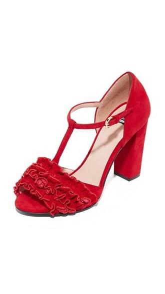 open heels red shoes