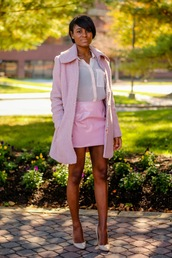 the daileigh,coat,t-shirt,skirt,shoes,vinyl skirt,vinyl,mini skirt,pink skirt,shirt,pink shirt,pink coat,all pink everything,All pink outfit,pumps,pink heels,pointed toe pumps,high heel pumps