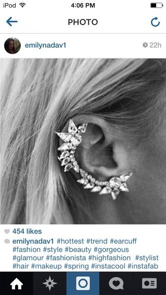 jewels diamonds earrings ear cuff edgy