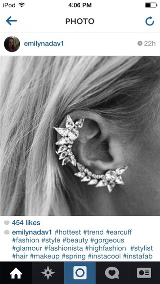 jewels diamond earrings ear cuff edgy