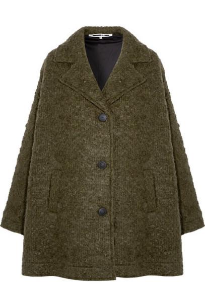 McQ Alexander McQueen coat oversized wool green army green