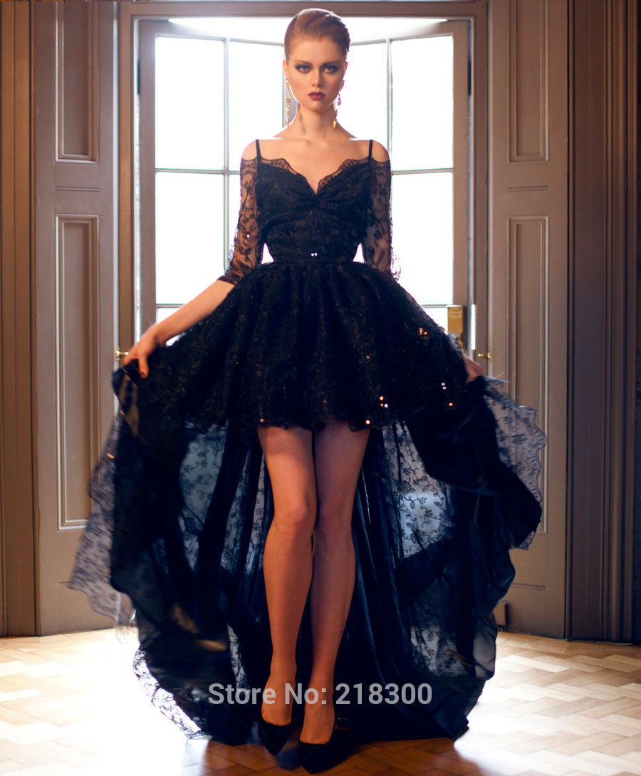 8ba0e7607cf Aliexpress.com   Buy Off the Shoulder Black Lace High Low Prom Dresses  Three Quarter Sleeves Evening ...
