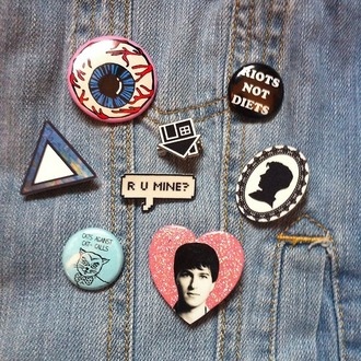 buttons jewels denim clothes jacket glitter pins eye cats heart songs silhouette band merch band r u mine?