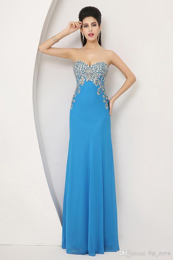 blue dress prom dress 2014 dress evening dress beaded dress strapless dress long dress sale dress free shipping dress real photo dress dress