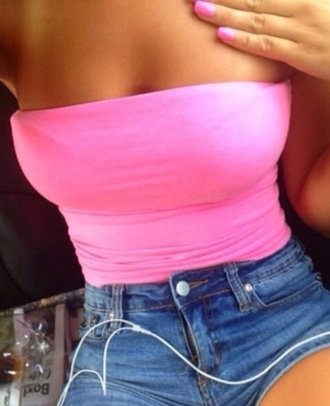 top shorts shirt pink tube top pink tube top cute strapless pink top tumblr