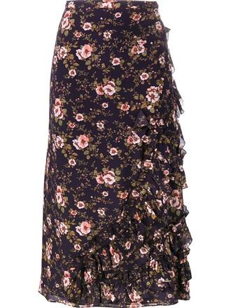 skirt ruffle floral purple pink