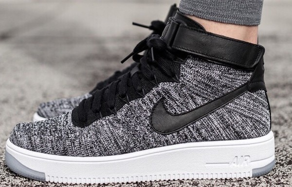 8658174e165d Nike Air Force 1 Mid Flyknit Black White - Hers trainers