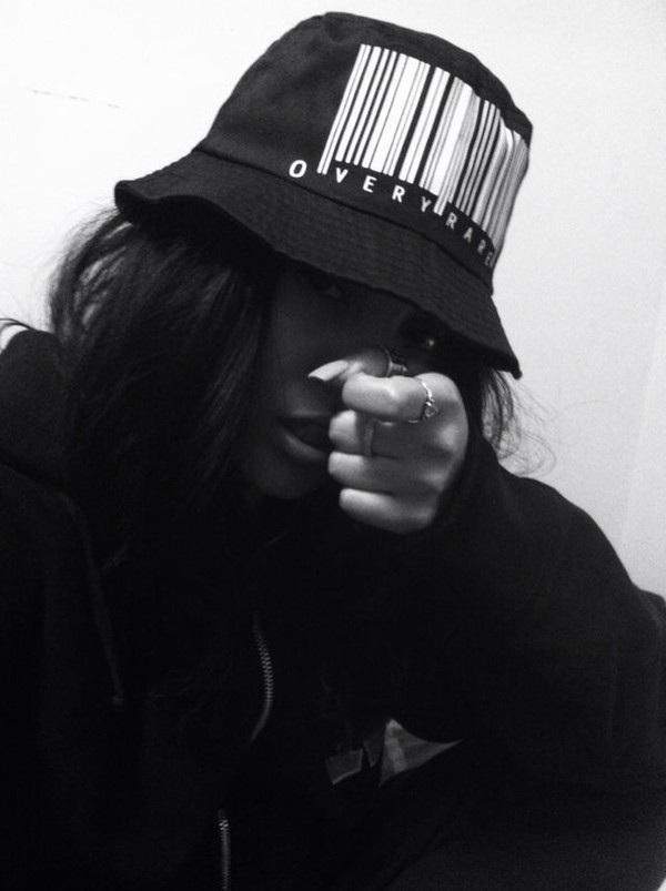 Hat Black Bucket Hat Barcode Black And White Gorgeous