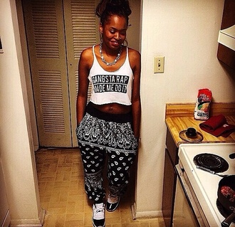 pants joggers urban outfitters bandana print gangsta crop tops graphic tee shirt