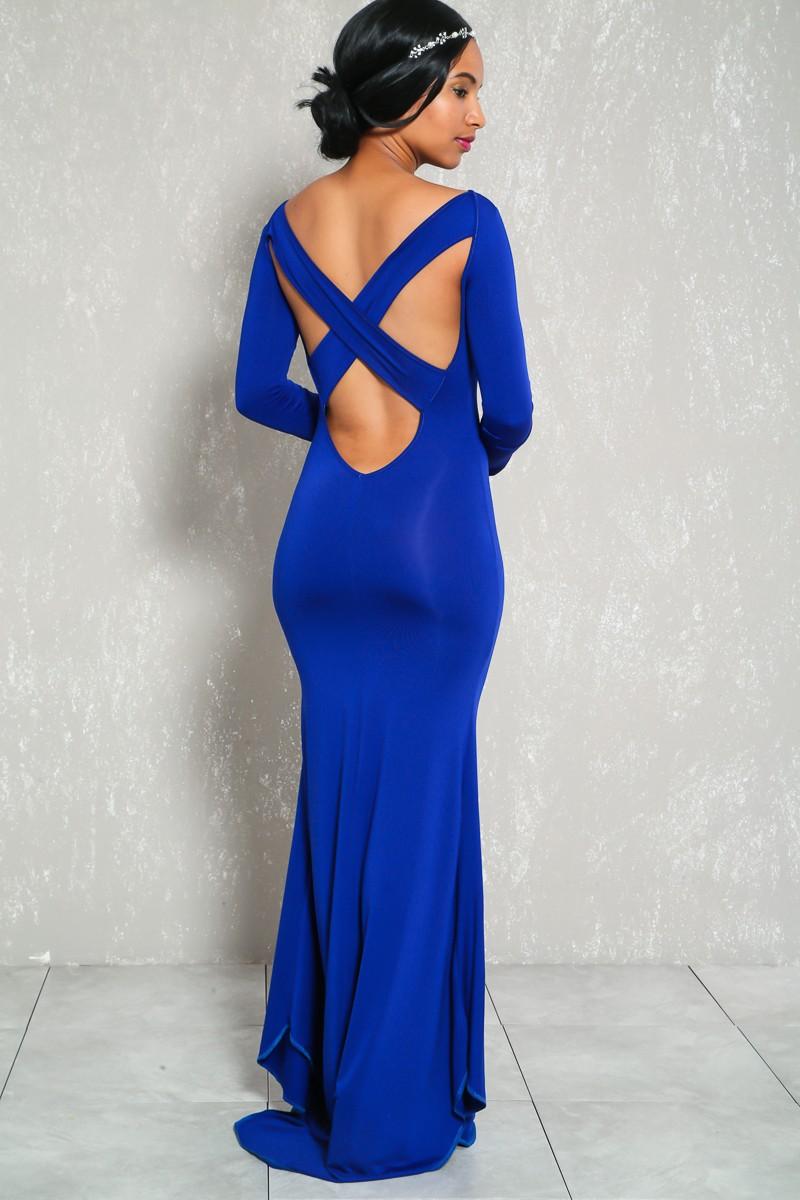 897edbf7312 Sexy Royal Blue Prom Dress Long Sleeve Criss Cross Back High Low ...