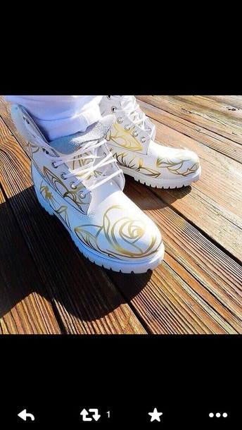 shoes timberlands timberlands white gold white timbs gold rose design timberlands boots white shoes