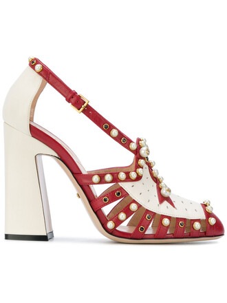 studded women pearl pumps leather red shoes