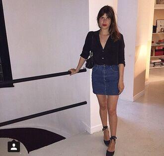 skirt jeanne damas fashionista denim skirt blue skirt mini skirt shirt black shirt espadrilles wedges sandals black sandals bag black bag