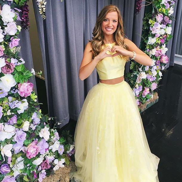 dress, sherri hill, yellow dress, 2 piece prom dress, prom dress ...