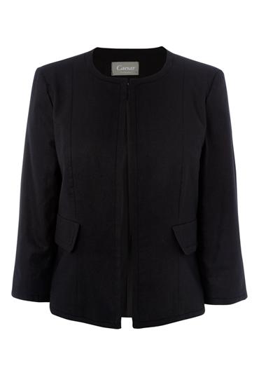 Ladies collar less linen jacket
