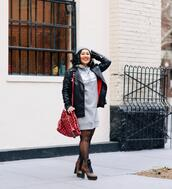 mimi & chichi blog,blogger,sweater,dress,hat,jacket,bag,shoes,black leather jacket,ankle boots,sweater dress,spring outfits