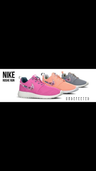 shoes gray nike check foral roshe runs