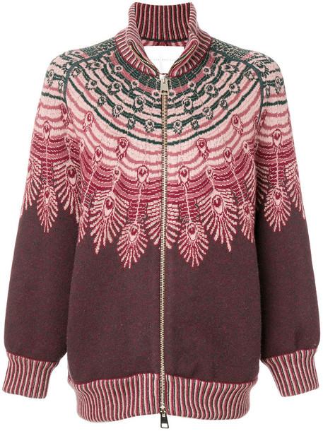 sweater zip women red
