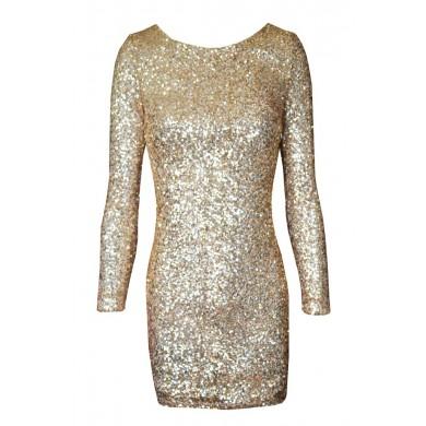 Sequin drape open back  dress