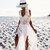 White Weave Top Split Maxi Beach Dress