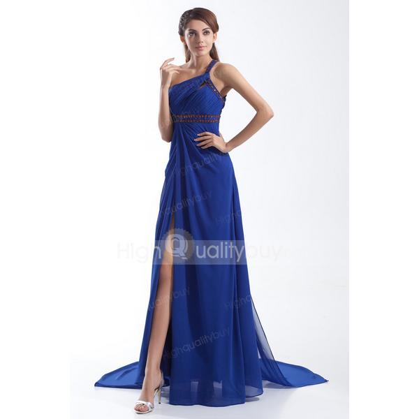 Stunning Blue Elegant One Shoulder Chiffon Floor-length A-line Evening Dress_$126.99