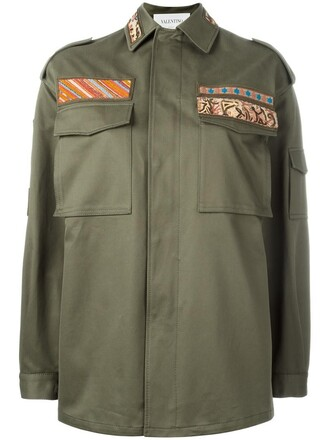 jacket embroidered women cotton green