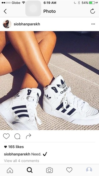 shoes adidas extaball high top sneakers white