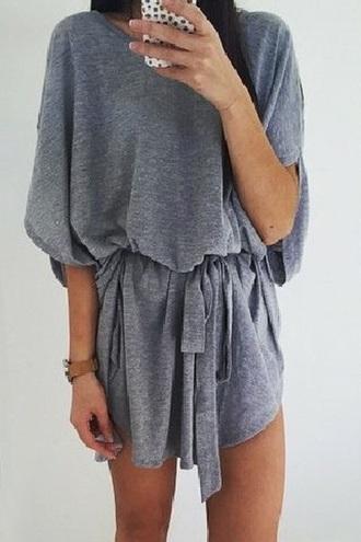 dress playsuit cotton grey jumpsuit grey cotton playsuit casual romper grey cute summer