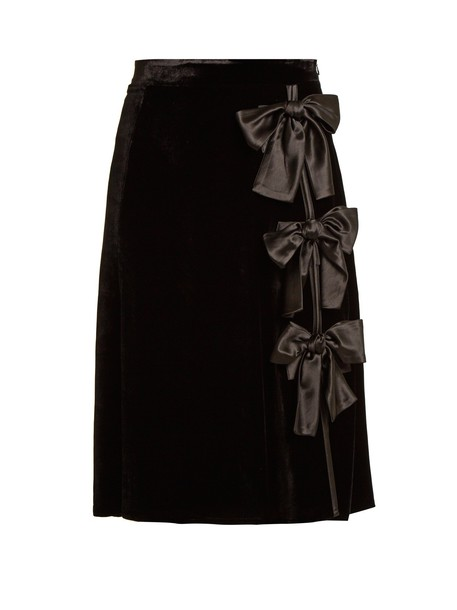 Altuzarra skirt velvet skirt bow embellished velvet black