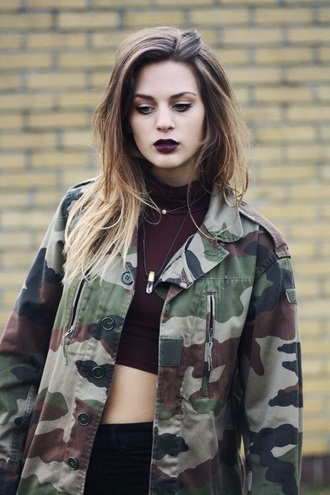 jacket cool black cute military style army green army green jacket lipstick