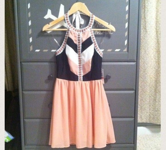 dress peach dress mini dress pink black
