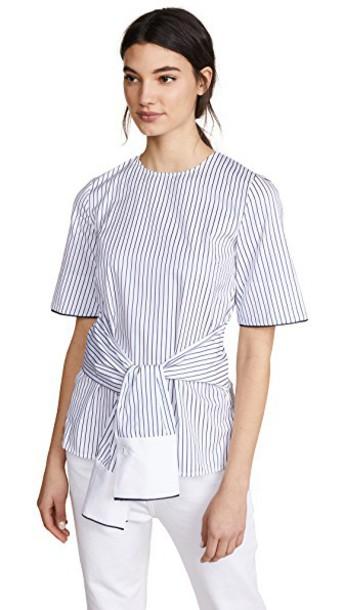 Victoria Victoria Beckham top wrap top navy white