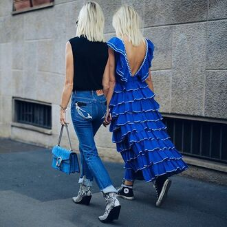 dress tumblr blue dress maxi dress open back open back dresses backless backless dress top black top denim jeans blue jeans boots snake print bag blue bag gucci gucci bag dionysus ruffle ruffle dress sneakers high top sneakers high top converse converse black converse