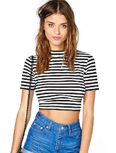 Black White Striped Short Sleeve Crop T-Shirt - Sheinside.com