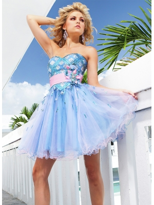 Buy Lovely Blue Flower Sequins Organza Prom Dress under 200-SinoAnt.com