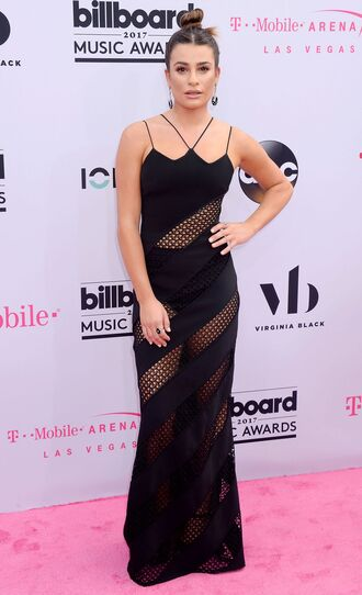 dress black dress mesh mesh dress billboard music awards black lea michele