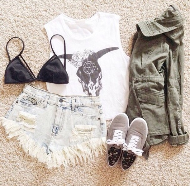shorts t-shirt shoes style jacket