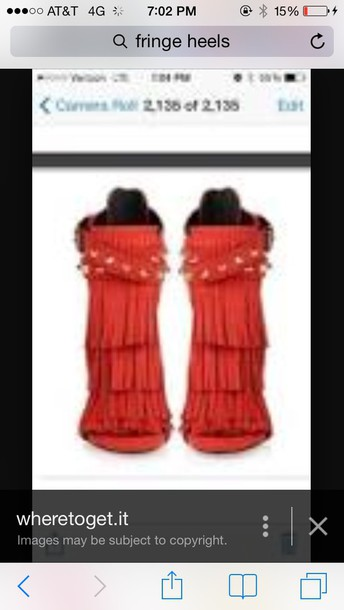 shoes red fringe shoes