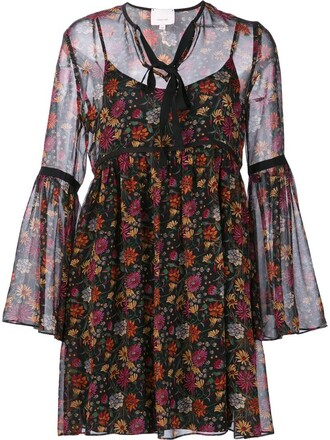 dress sheer women floral cotton print black