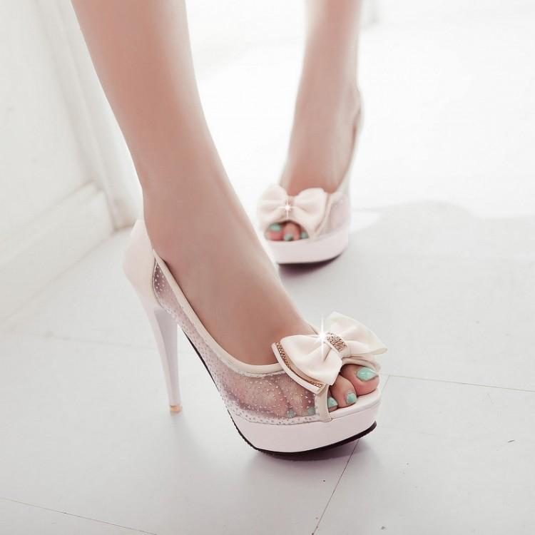 Fashion round toe peep stiletto high heel basic beige pu pumps
